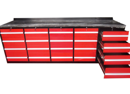 10ft red 20 drawer metal  workbench