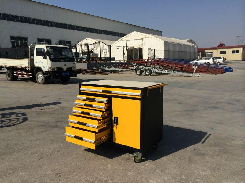 yellow metal tool trolley